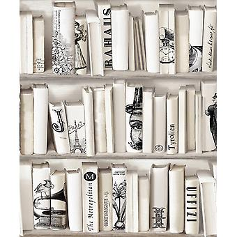 Cream Beige Bookcase Wallpaper Library French Vintage Encyclopedia Retro Muriva