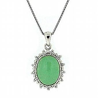 The Olivia Collection Sterling Silver Jade Pendant With Cz Stones 18 Inch Chain