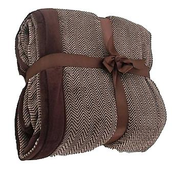 Chevron Stripe Cosy Fleece Blanket Throw: Brown