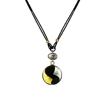Eternal Collection Grazia Black Multi Venetian Murano Glass Pendant