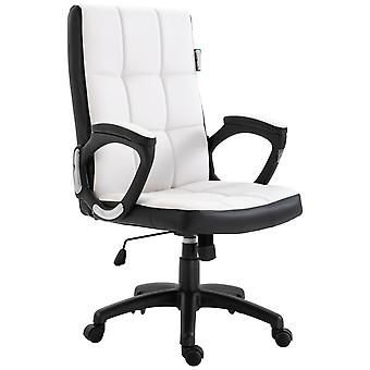 Vinsetto Office Chair Game Study High Back Adjustable Height PU Leather Padded Swivel Base Castor Wheels White