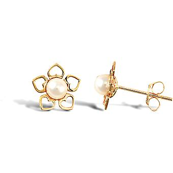 Jewelco London Ladies 9ct Yellow Gold Freshwater Cultured Pearl Flower Stud Earrings 3.5-4mm
