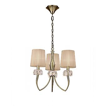 Mantra M4633AB Loewe Pendant 3 Light E14, Antique Brass With Soft Bronze Shades