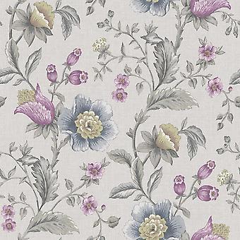 Crème blauwe bloemen behang Teal linnen effect plakken muur Holden decor zinnia