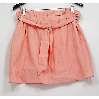 Dee Elle Skirt Cotton Fully Lined Belted Coral Pink