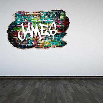 Full Colour Personalised Graffiti Smashed Wall 3D Effect Bedroom Wall Sticker Decal Kids Bedroom Decoration
