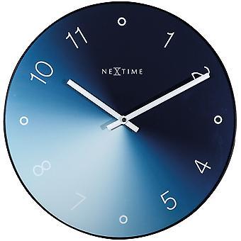 NeXtime - Wall clock - Ø 40 cm - Glass / Metal - Blue - 'Gradient'