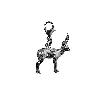 Silver 20x15mm Antelope Charm on a lobster trigger