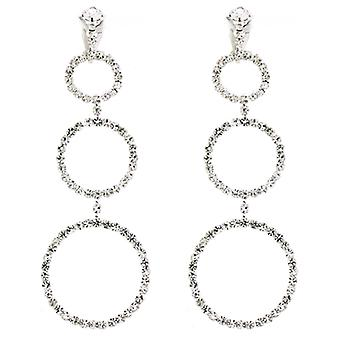 Clip auf Ohrringe Store Diamante Crystal Round Hoop Drop-Clip auf Ohrringe