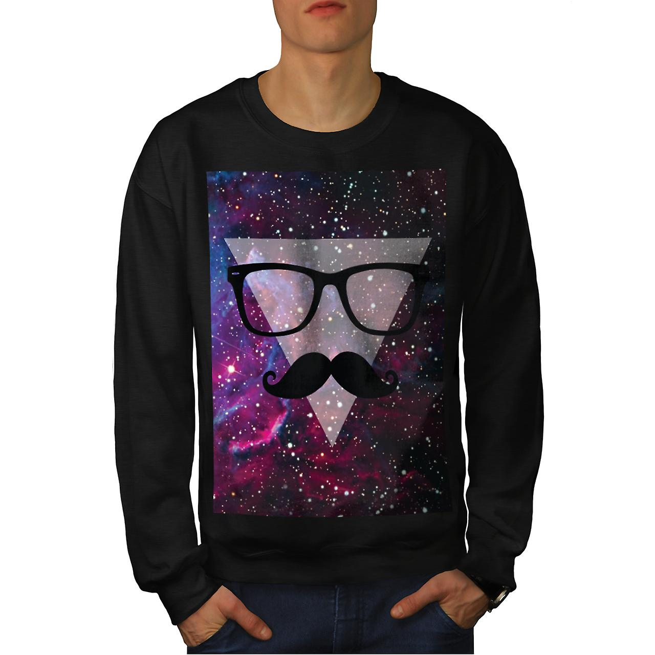 Master Disguise Space Funny Face Men Black Sweatshirt | Wellcoda