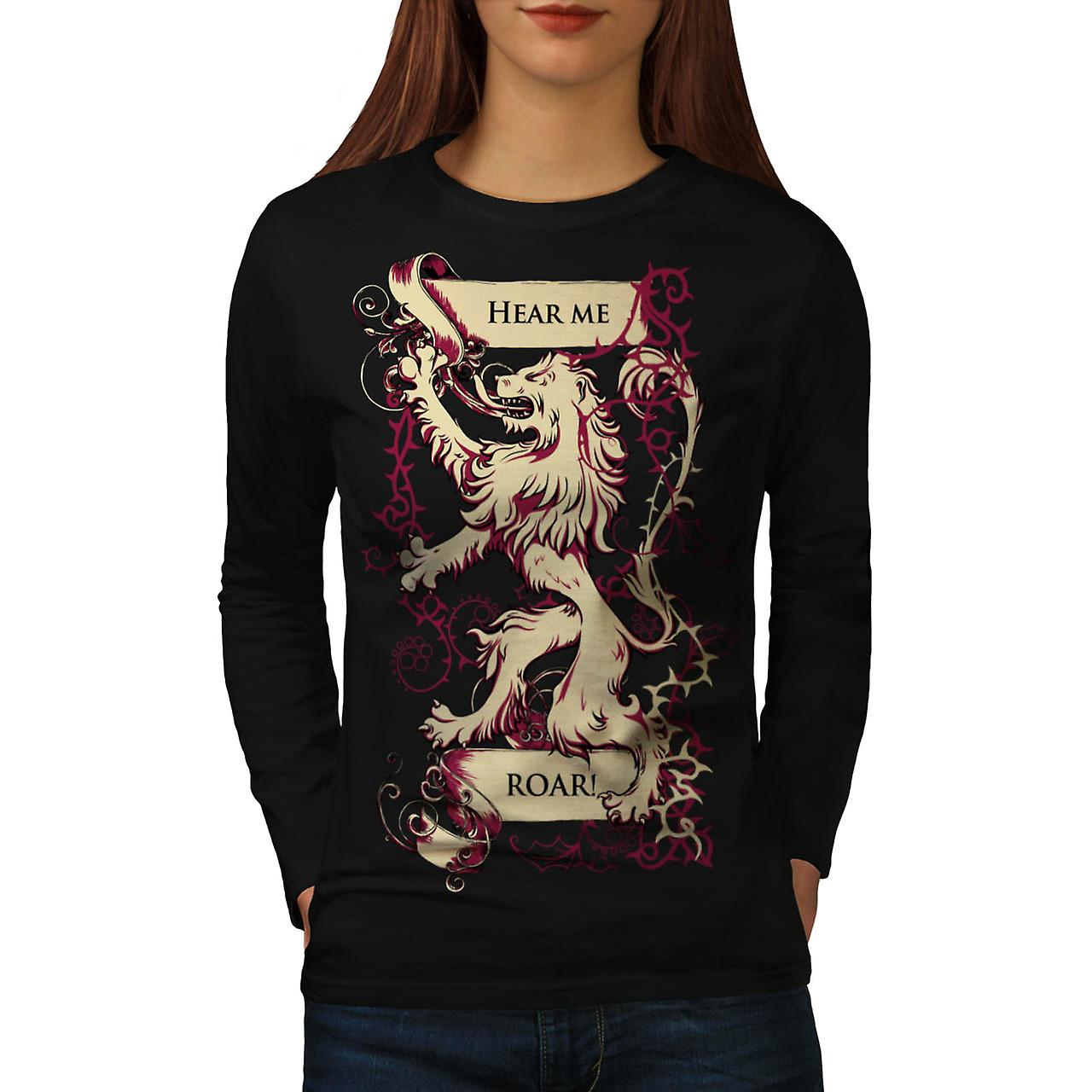Hear Me Roar Lion Rampant Flag Women Black Long Sleeve T-shirt | Wellcoda