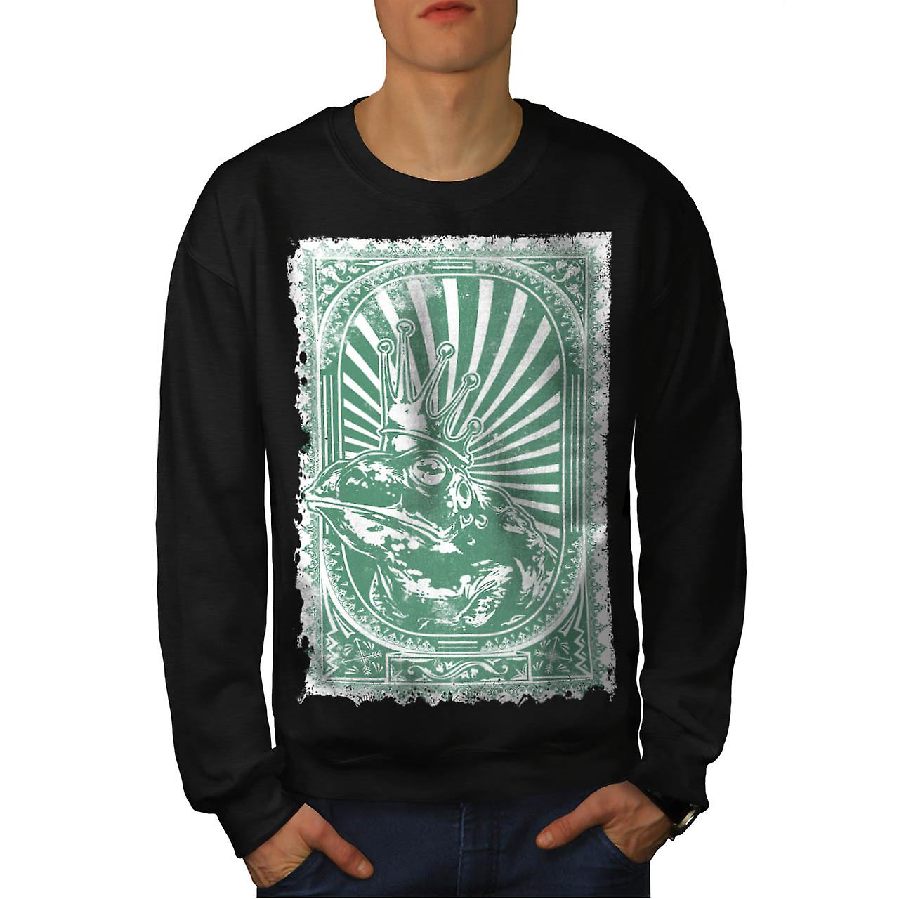 Prince Frog Crown Eye Wise Toad Men Black Sweatshirt | Wellcoda
