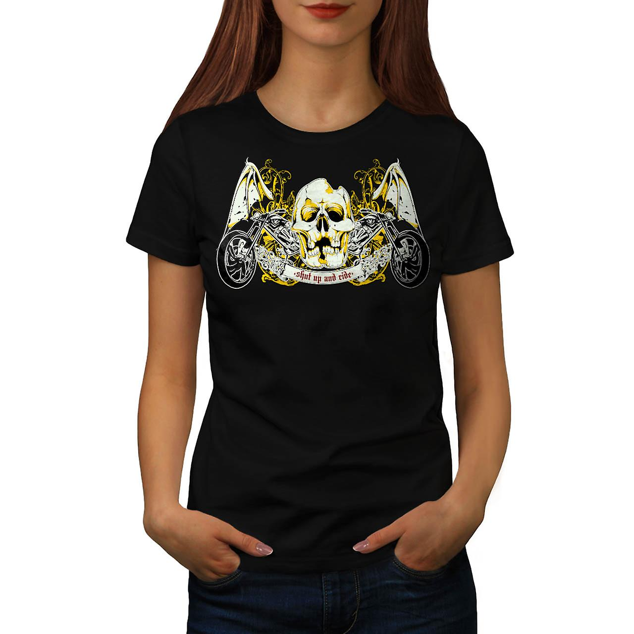 Skull Ride Biker Trip Road King Women Black T-shirt | Wellcoda