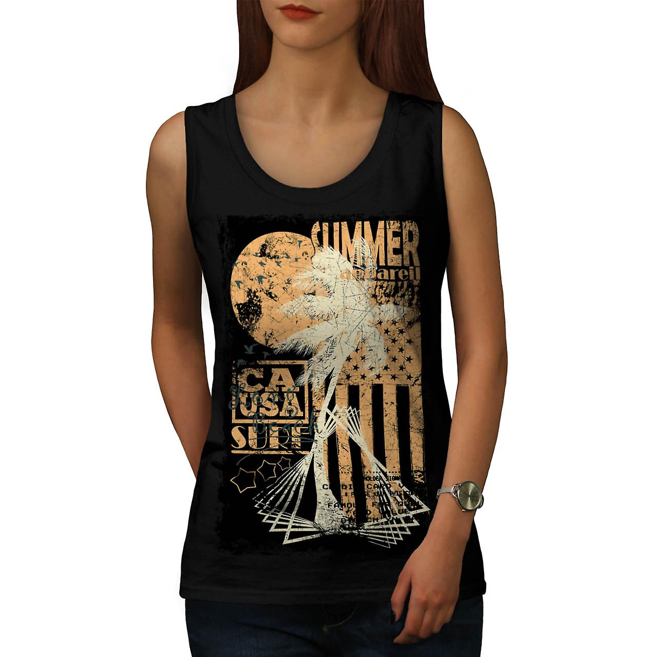 Summer Surfer Apparel California Women Black Tank Top | Wellcoda