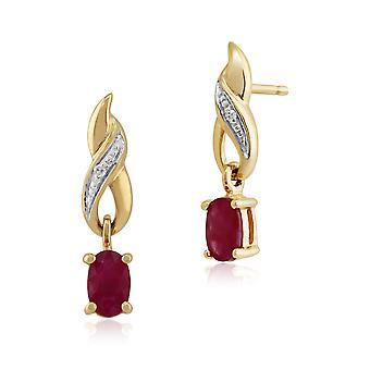 Orecchini pendenti 9ct oro giallo 0,57 ct rubino naturale & Diamond Classic