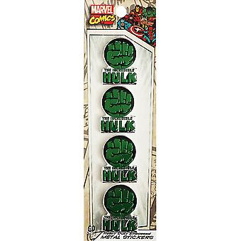 Marvel Licensed Heavy Duty Embossed Metal Stickers 4/Pkg-Hulk Fist .75