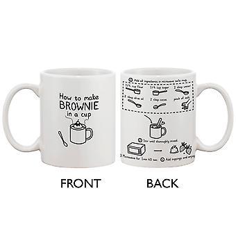 Cute Ceramic Coffee Mug - How to Make Brownie in a Cup - Cute Recipe Mug
