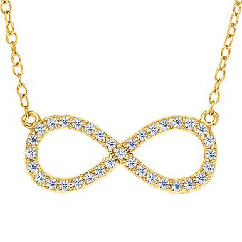 Infinity Sign Link And CZ Necklace In Yellow Color Finish Sterling Silver, 18