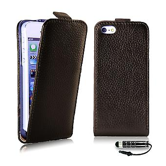 Premium Flip Leather Case Cover for Apple iPhone 5 5S SE - Dark Brown