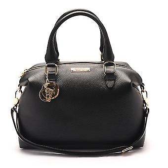 Versace Collections Women Pebbled Leather Top Handle Shoulder Handbag Satchel Black