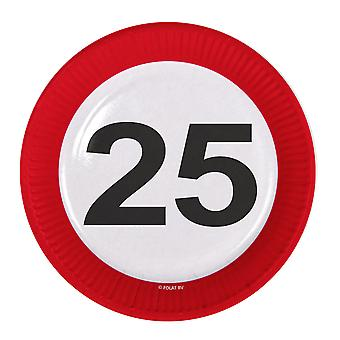 Party plate traffic sign number 25 birthday plates 8 PCs paper plates party