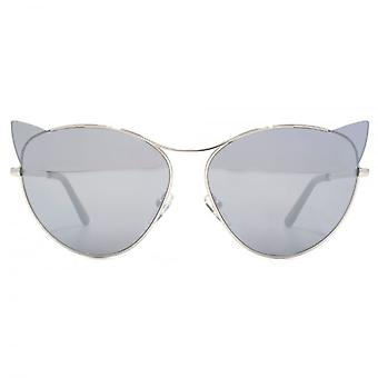 Karl Lagerfeld Kitten Cateye Sunglasses In Shiny Silver Mirror