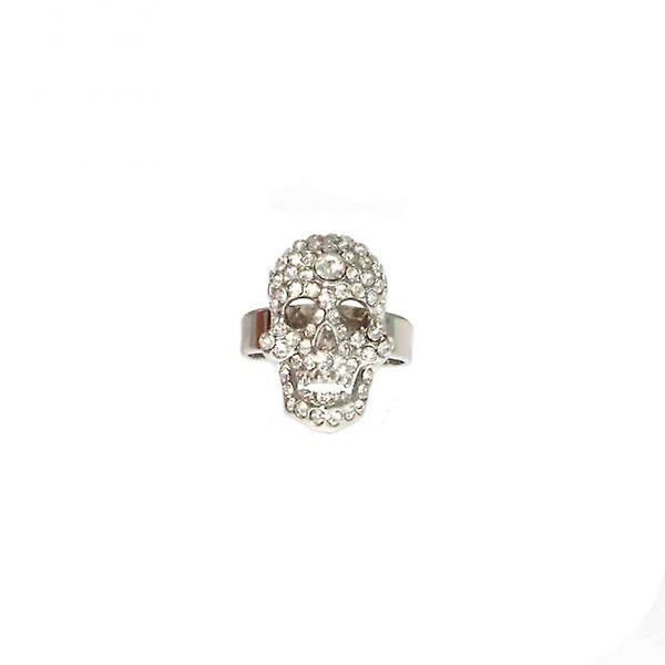W.A.T Small Clear Swarovski Crystal Skull Ring