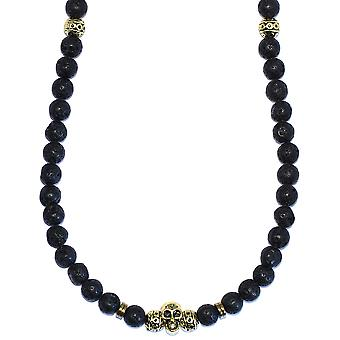 Lavastone and Gold Plated Necklace with Skull 8mm beads x 36 inches long