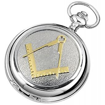 Woodford Masonic Chrome Plated Double Full Hunter Skeleton Pocket Watch - Silver/Gold