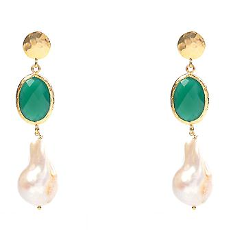 Hydra Baroque Pearl and Green Onyx Earring