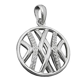 Round pendant Silver Pendant with zirconia rhodium plated Silver 925