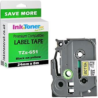 Compatible TZE651 Bk-yellow 24x8 Cartridge for Brother PT-D800W Label