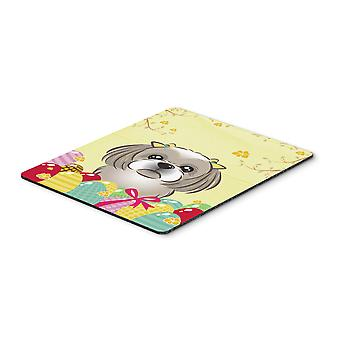 Gray Silver Shih Tzu Easter Egg Hunt Mouse Pad, Hot Pad or Trivet