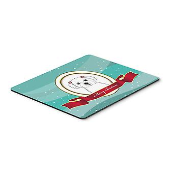 Maltese Merry Christmas Mouse Pad, Hot Pad or Trivet