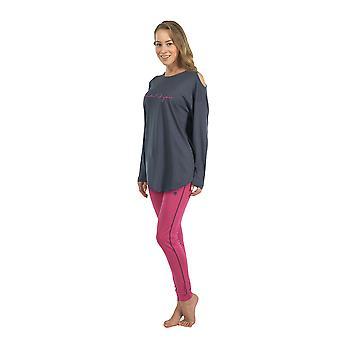 6115-092 女子 Anthrachite 灰色パジャマ パジャマ パジャマ セット BlackSpade