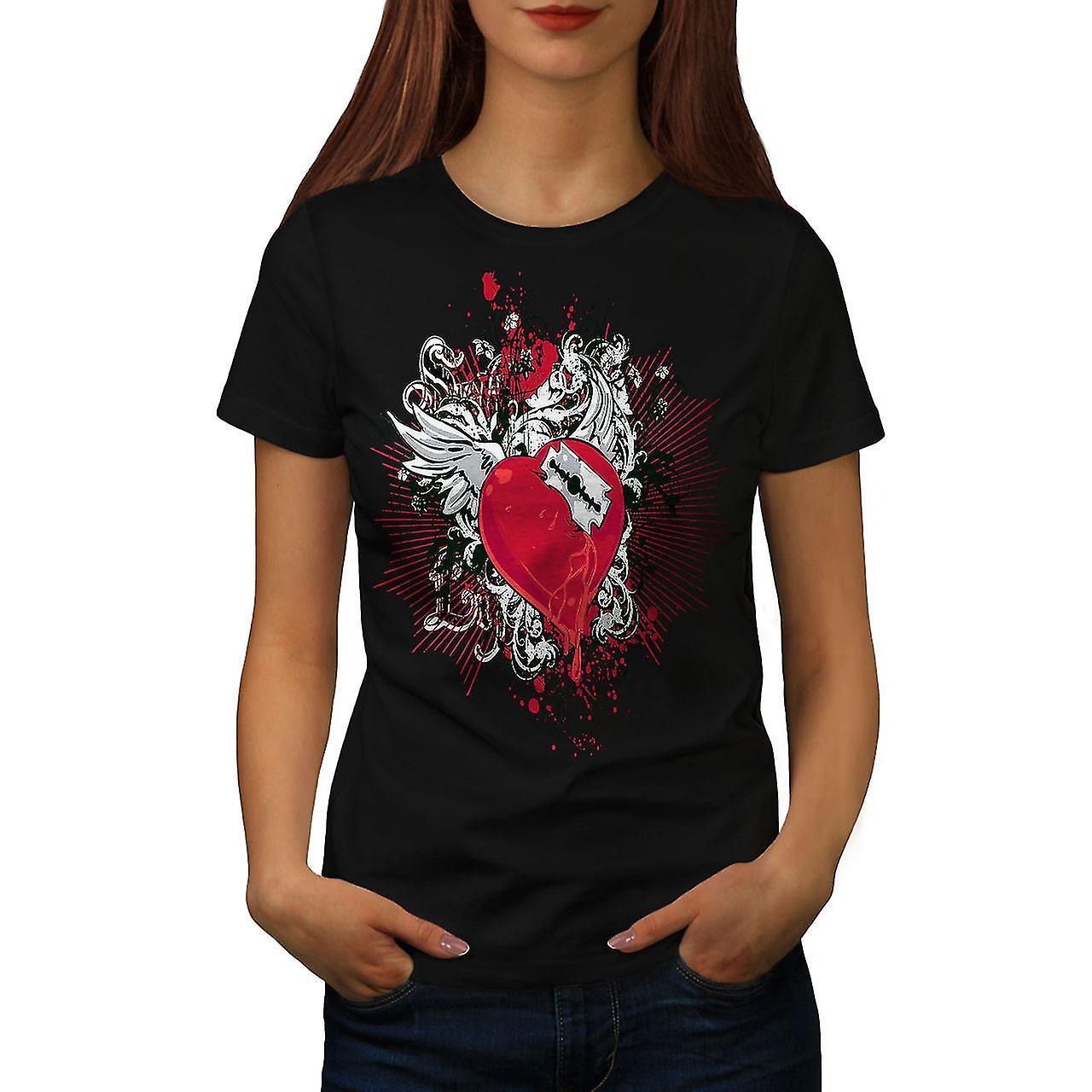 Broken Heart Cool Fashion Women Black T-shirt | Wellcoda