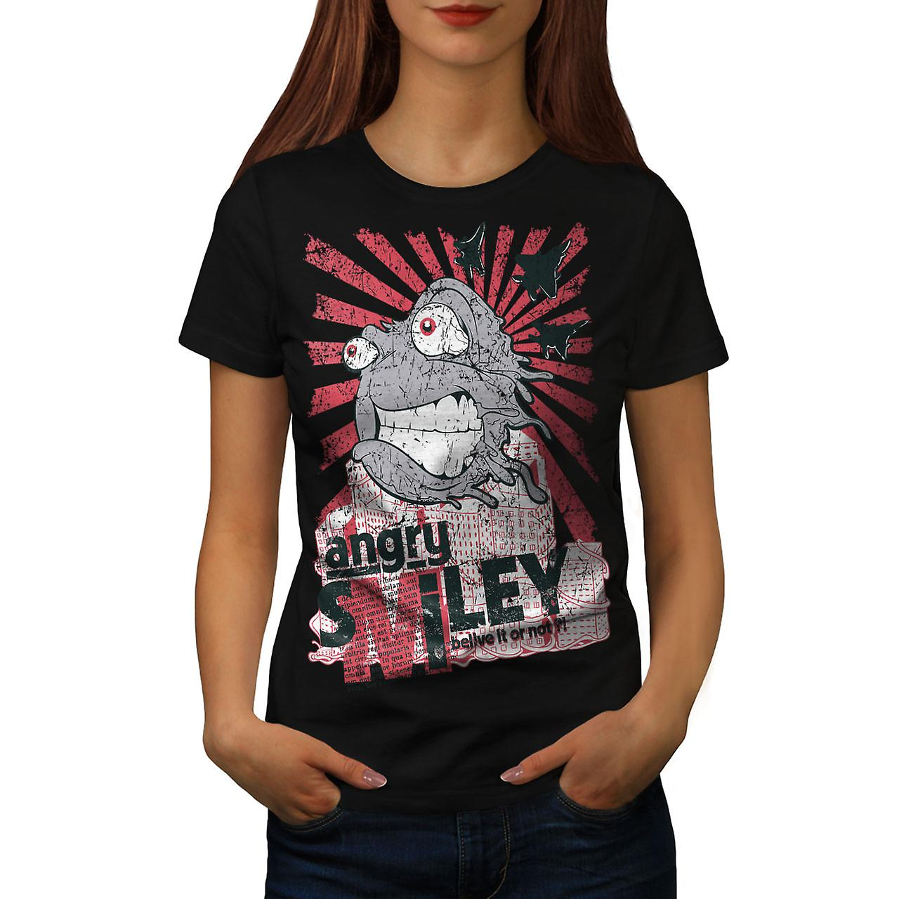 Smiley Monster Horror Women Black T-shirt | Wellcoda