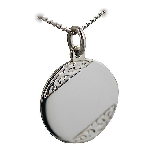 Silver 20mm round hand engraved Disc with a curb Chain 18 inches