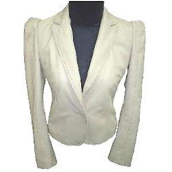 Ladies Stylish Bella White Leather Coat