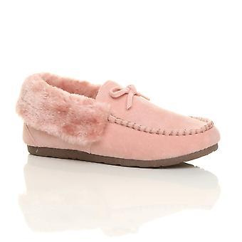 Ajvani dame faux sheepskin pels luksus fleksible eneste vinter mokkasiner hjemmesko sko