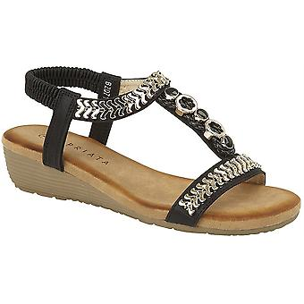 Ladies Womens Gold Jewelled Sling Back Low Wedge Sandals Shoes