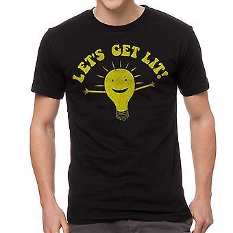 Humor låt oss få tända män svart T-shirt