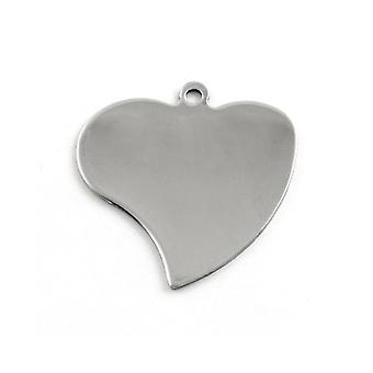 Packet 3 x Silver 201 Stainless Steel Heart Stamping Blanks 40 x 42mm ZX20150