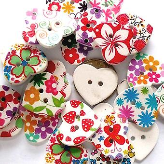 Packet 10 x Mixed Wood 25mm Heart 2-Holed Patterned Sew On Buttons HA09795