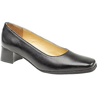 Amblers Ladies Walford Slip On Wide Fit Leather Formal Court Shoe Black
