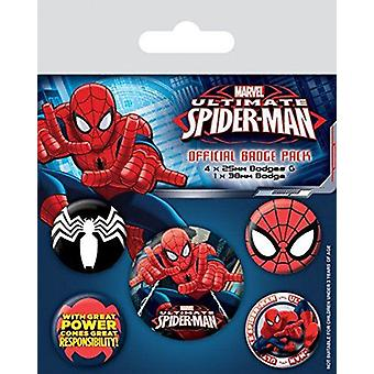 ULTIMATE SPIDERMAN Pack of Official Badges 5 Pin Badge Set