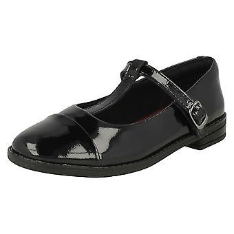 Girls Clarks T Bar School Shoes Drew Shine