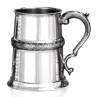 Knurled Rope Straight Pewter Tankard - 1 Pint