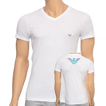 Emporio Armani Eagle Stretch Cotton V-Neck T-Shirt, White, Small
