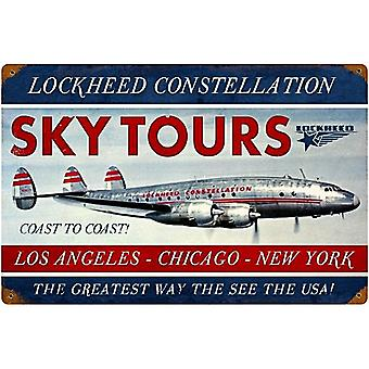 Lockheed Constellation Skytours Rusted Metal Sign 460Mm X 300Mm